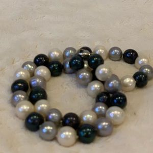 Blue & White Pearl Necklace